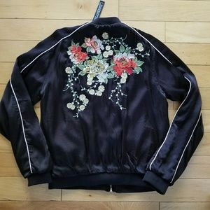 Blank NYC Asian floral embroidered bomber jacket S
